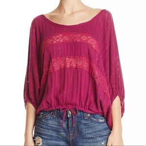 Free People I'm Your Baby lace fuchsia top